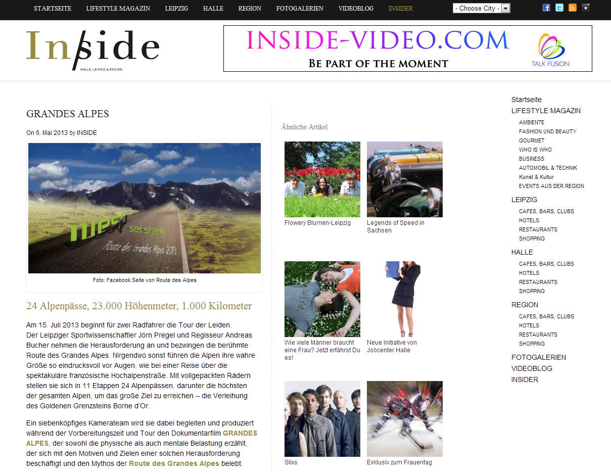 Grandes Alpes im Magazin INSIDE